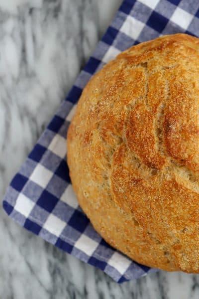 Overhead knead not sourdough bread is a great no knead sourdough bread recipe