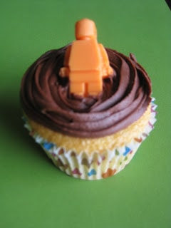 Lego cupcake topper with lego minifigure