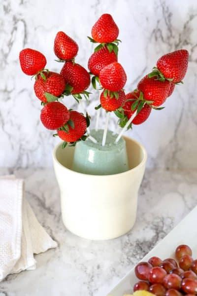 strawberries in a fruit arrangement