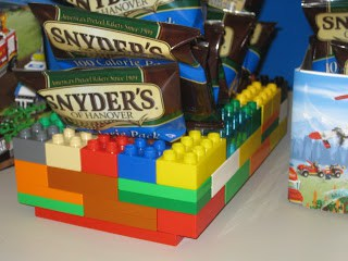 DIY lego container for birthday party snacks