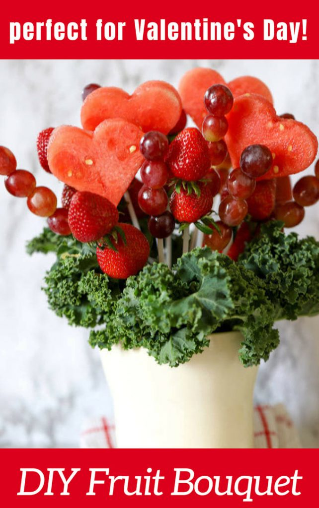 Valentines DIY fruit bouquet for valentines day in white vase