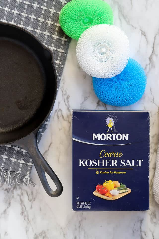 How to clean a cast iron pan with kosher salt and nylon scrub brush