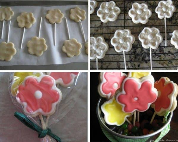 cookie flowers on lollipop sticks