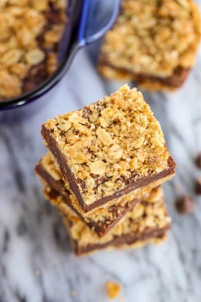Stack of three Oatmeal Fudge Bars