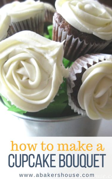 Pinterest image with cupcake bouquet with text overlay