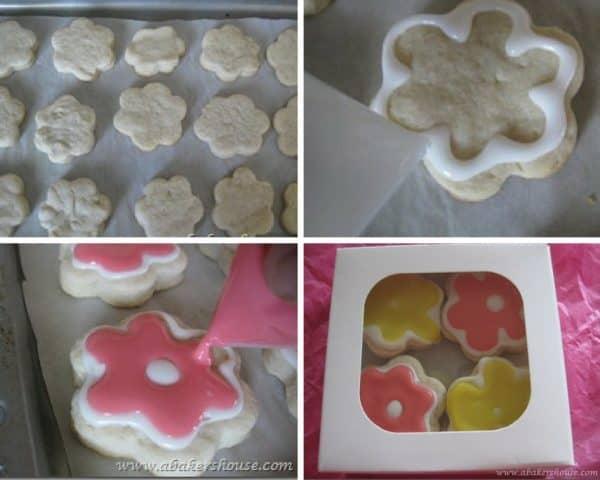 Flower shaped sugar cookies