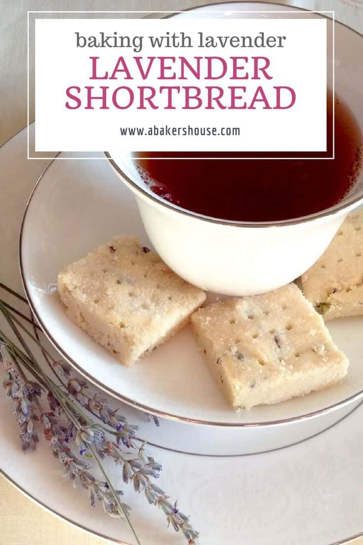 The addition of lavender to traditional shortbread dough elevates this lavender shortbread and makes it ready for a special occasion-- tea time, wedding showers, baby showers, and Mother's Day come to mind. #abakershouse #MothersDay #weddingshower #babyshower #teaparty #shortbread #bakingwithlavender