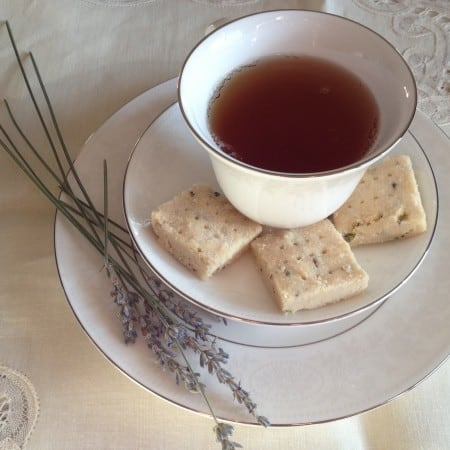 lavender shortbread with cup of tea