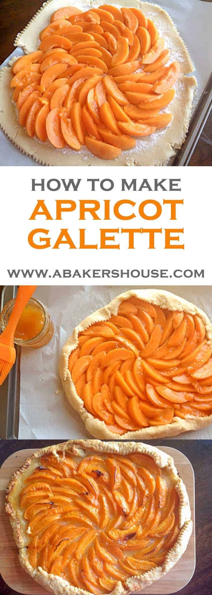 "Apricot galette is a dessert that can change throughout the year depending on your available, fresh ingredients. A galette is a free-form pastry usually topped with fruit. It's also a great way to avoid making a double-crust pie. Call it ""rustic"" and your dessert is an instant success! #abakershouse #apricot #galette #easypie #openfacepie #singlecrustpie #fruitpie"