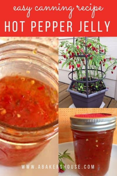 Pinterest image with three photos of hot pepper jelly