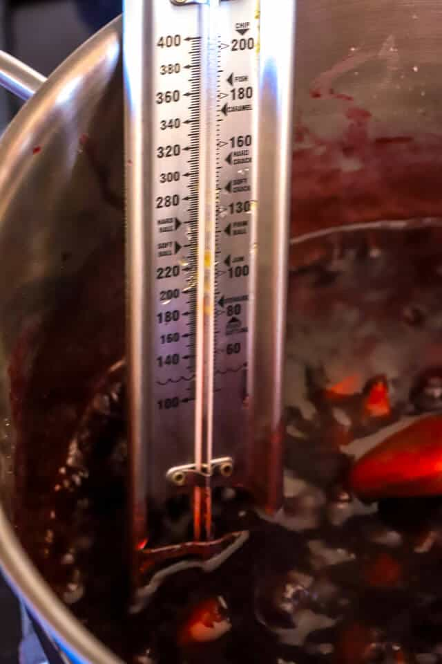 Use a canning thermometer to track progress towards gelling point making plum jam