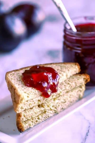 plum jam on toast