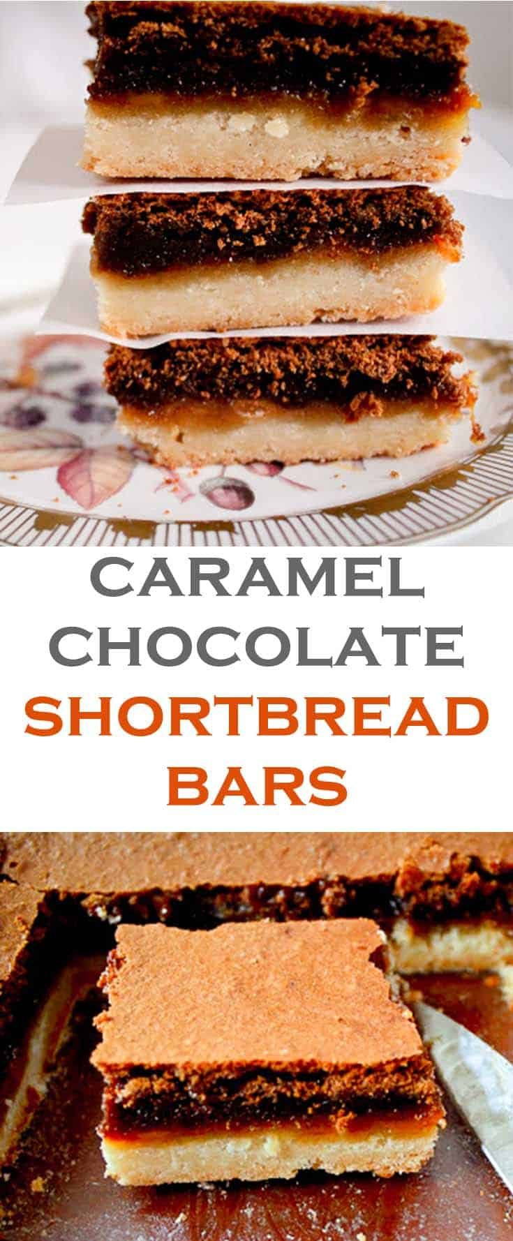 Caramel chocolate shortbread bars are a layered bar dessert that hits all the good points- did I mention the shortbread, the chocolate, and the caramel? So good! #abakershouse #caramel #chocolate #shortbread #layerbars #layerdessert