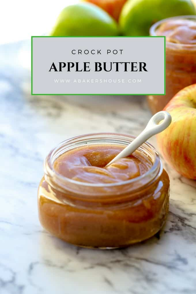 Like magic your slow cooker or Instant Pot will turn a bounty of apples into a smooth, deeply colorful and flavorful spread with this recipe for crock pot apple butter. #slowcooker #crockpot #applebutter #instantpot #abakershouse #apples #autumn #harvest #fruit #recipe