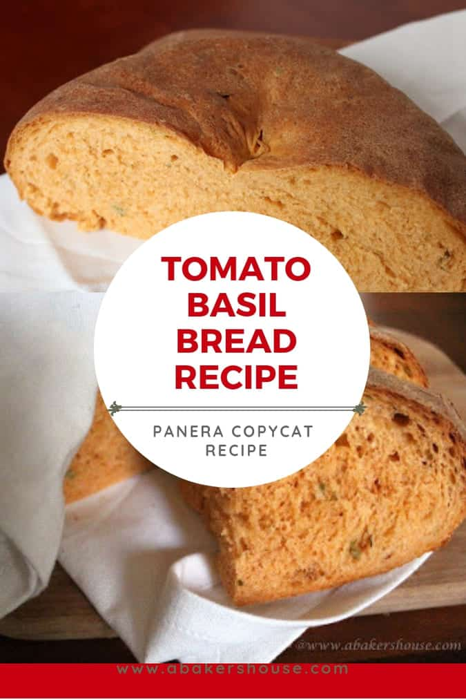 Two photos of tomato basil bread for Pinterest image