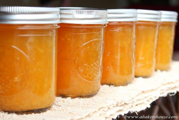 five jars of orange lemon marmalade