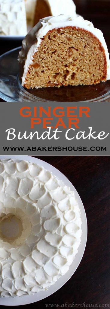 Pinterest image for ginger pear bundt cake with two photos