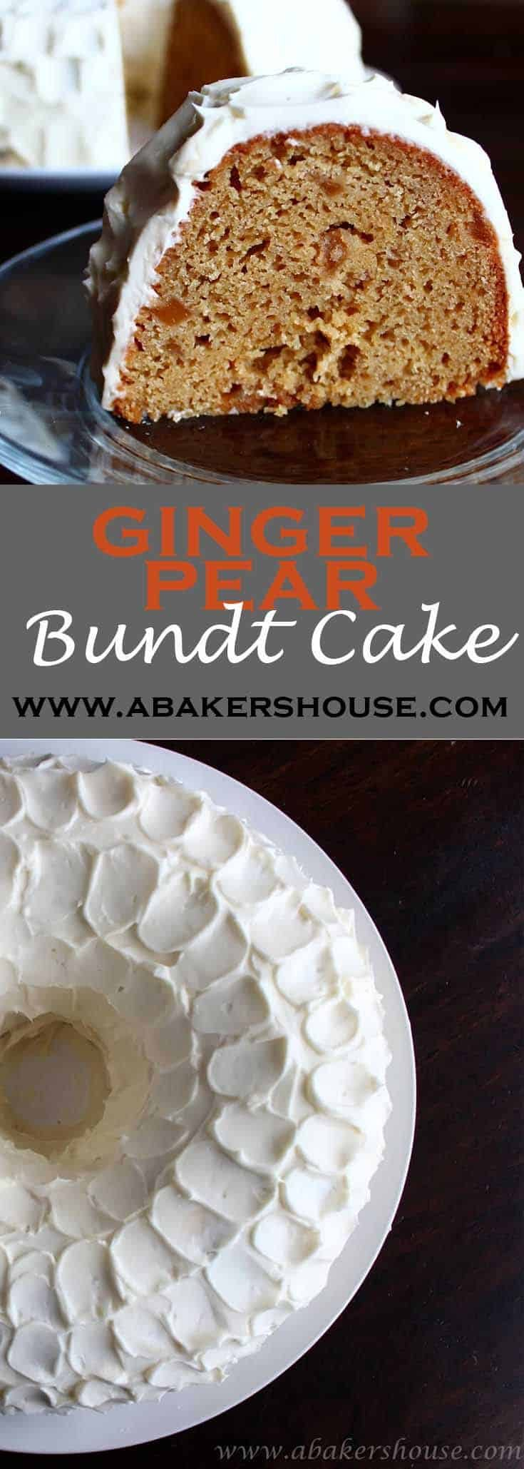Ginger-pear Bundt cake is a seasonal treat perfect for Thanksgiving or to enjoy throughout the autumn. A Bundt cake topped with cream cheese icing is always a hit. #abakershouse #bundt #cake #ginger #pear #thanksgiving #christmas #cake #dessert