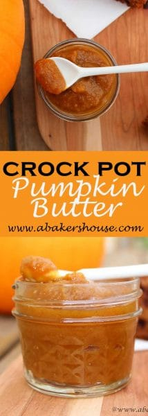Pinterest image with two photos of crock pot slow cooker pumpkin butter