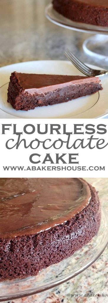 Two photos of flourless chocolate gluten free cake