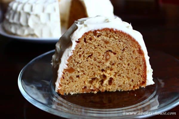 slice of ginger pear Bundt cake