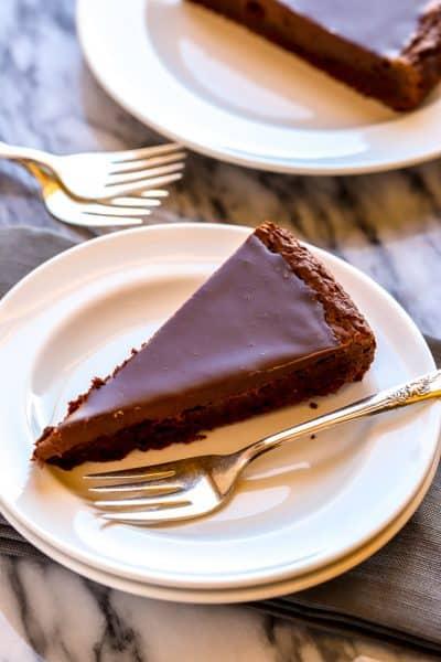 slice of flourless chocolate cake