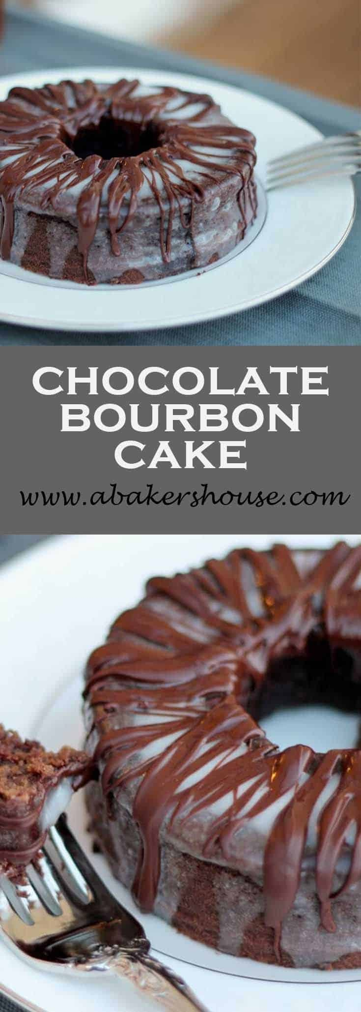 A dense, chocolate cake highlighted with bourbon makes this a grown up chocolate dessert. Top with a glaze AND a drizzle of chocolate to take this Chocolate Bourbon Mini Bundt over the top! #bundt #minibundt #espresso #bourbon #abakershouse #chocolatecake