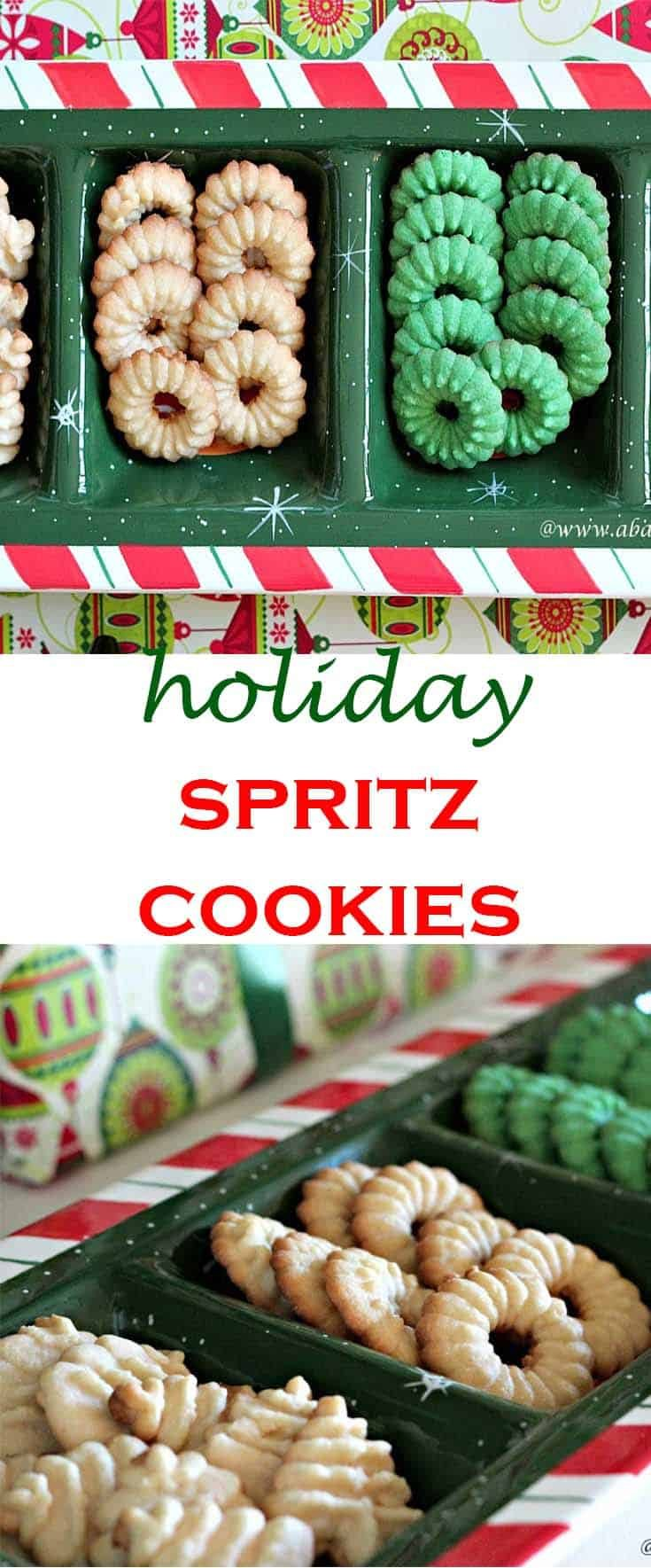 Baking Spritz Cookies with a Cookie Press gives a uniformity unmatched by most other baking methods. This traditional Christmas cookie can be made in many shapes-- flowers, wreaths, or trees-- and left plain or decorated with icing. #cookiepress #spritzcookies #abakershouse #Christmas #holidaybaking #cookieexchang