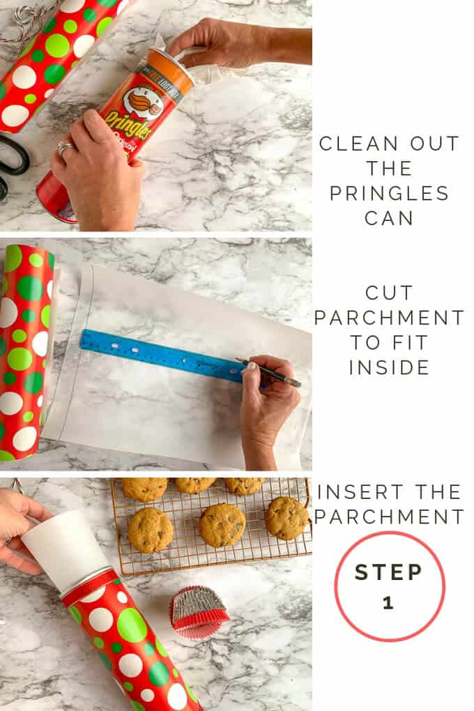 Step 1 for turning a Pringles can into a cookie container