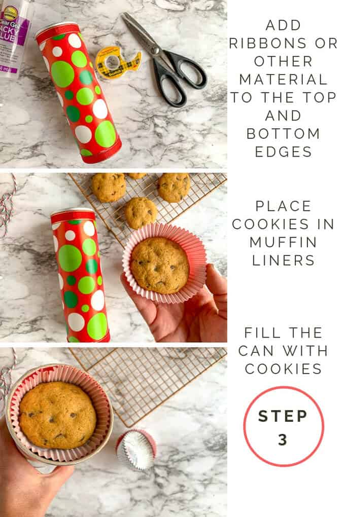 Step 3 for turning Pringles can into cookie container