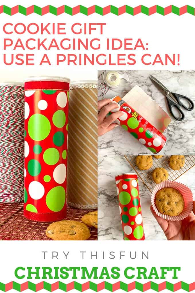 Photo collage for how to make gift packaging for cookies with Pringles can