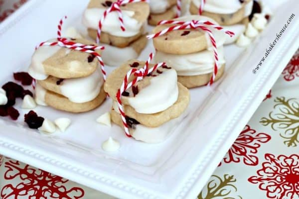 Stacks of white chocolate chip cookies