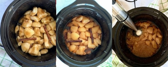 Three photos of the steps of making pear butter in the crock pot