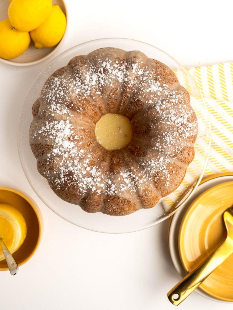 overhead view of lemon bundt cake with lemon glaze