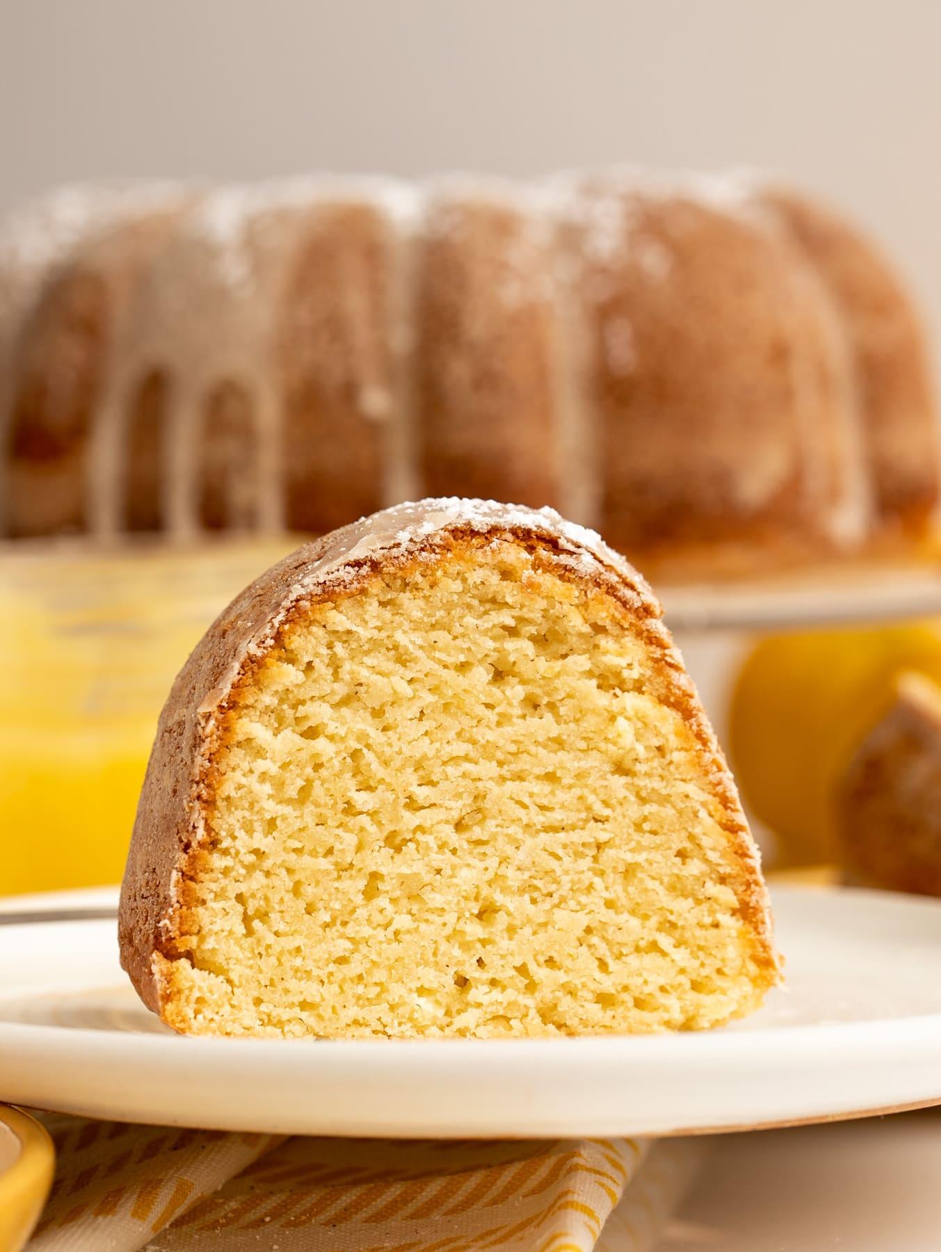 slice of lemon bundt cake on white plate