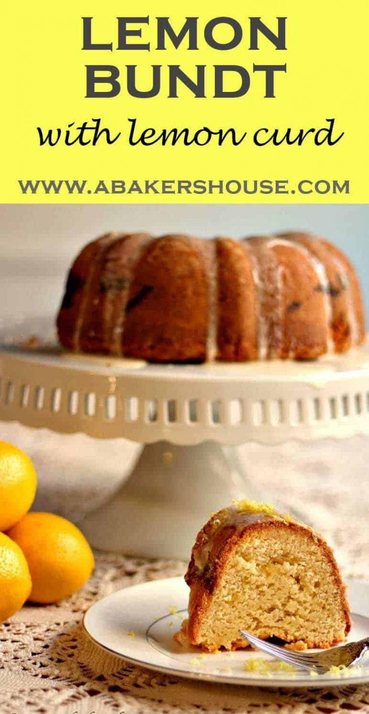 This lemon bundt with lemon curd filling is an ode-to-lemon in cake form. Lemon juice, lemon zest, lemon curd, and a lemon glaze product a bright, lemony bite. #lemon #bundt #cake# poundcake #abakershouse