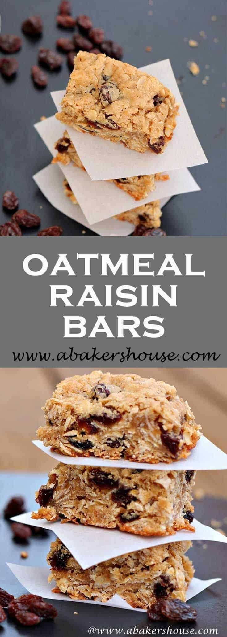 Oatmeal raisin bars are a chewy treat that is perfect for lunch boxes and packs easy for travel, hiking, and picnics. #oatmeal #raisin #dessertbars #dessertsquares #marthastewartrecipe #abakershouse