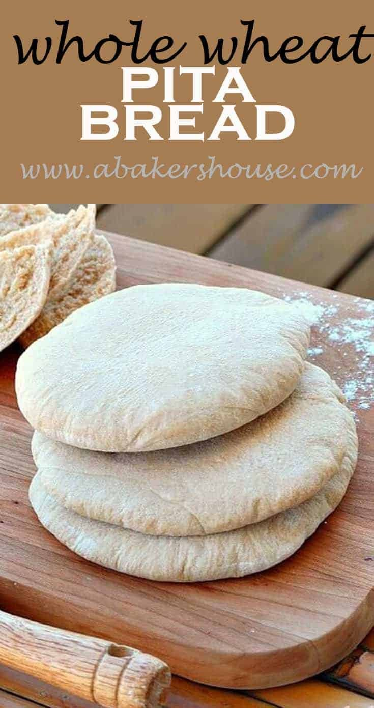Simple ingredients and a straightforward recipe come together in this Whole Wheat Pita Bread. Baking bread at home is so rewarding-- the aroma, the soft bread, and the satisfaction of creating this pita bread at home are well worth the effort. #homemadebread #abakershouse #pitabread
