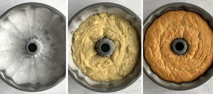 stages of baking Bundt cakes in three images