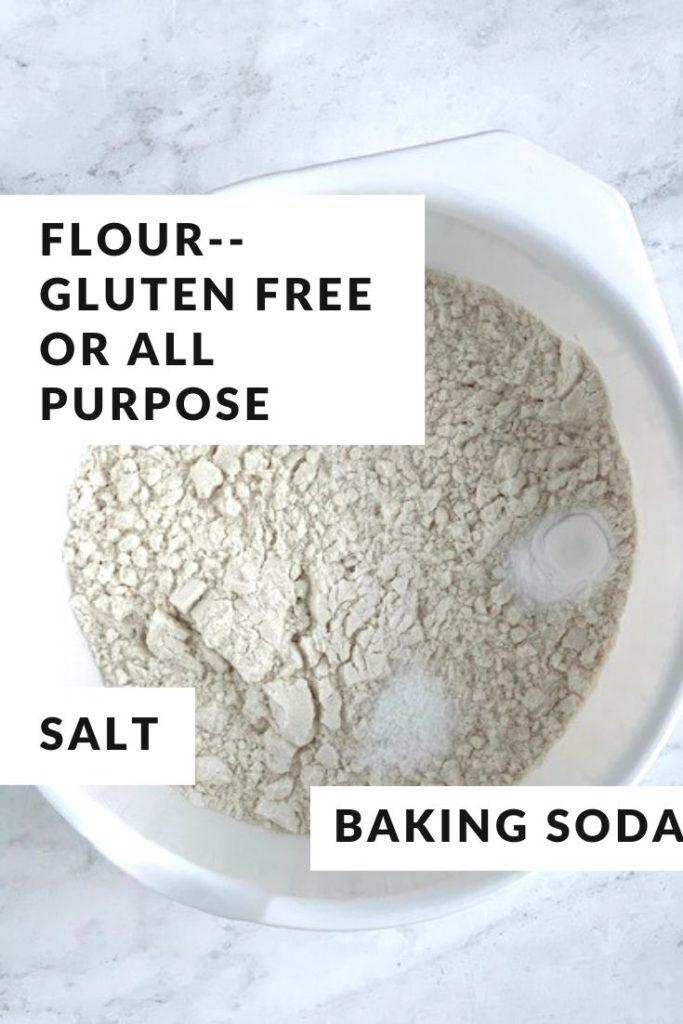 dry ingredients for lemon cake in white bowl
