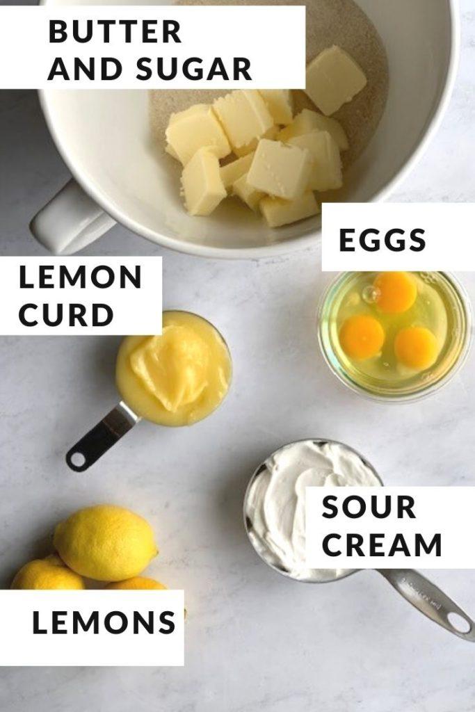 wet ingredients for lemon cake batter