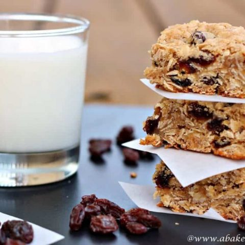 Oatmeal raisin bars and glass of milk