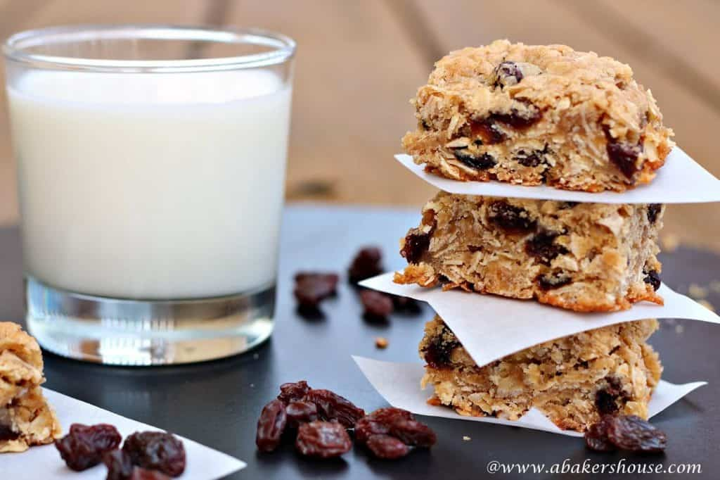 Oatmeal raisin bars and glass of milk