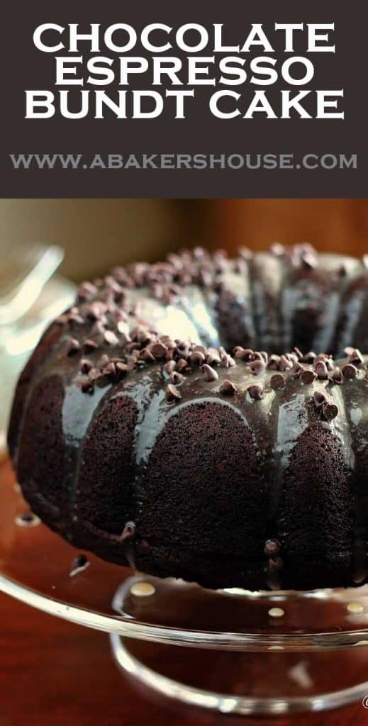Pinterest image for chocolate espresso bundt cake with chocolate glaze