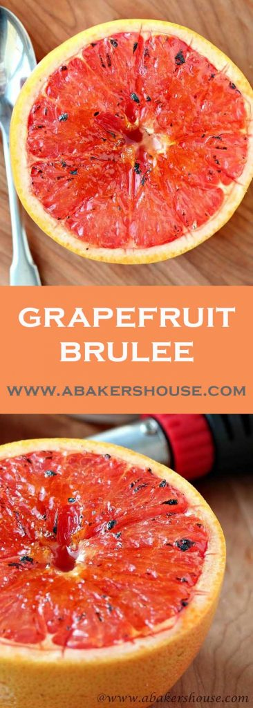 Two photos of grapefruit brulee with text title overlay
