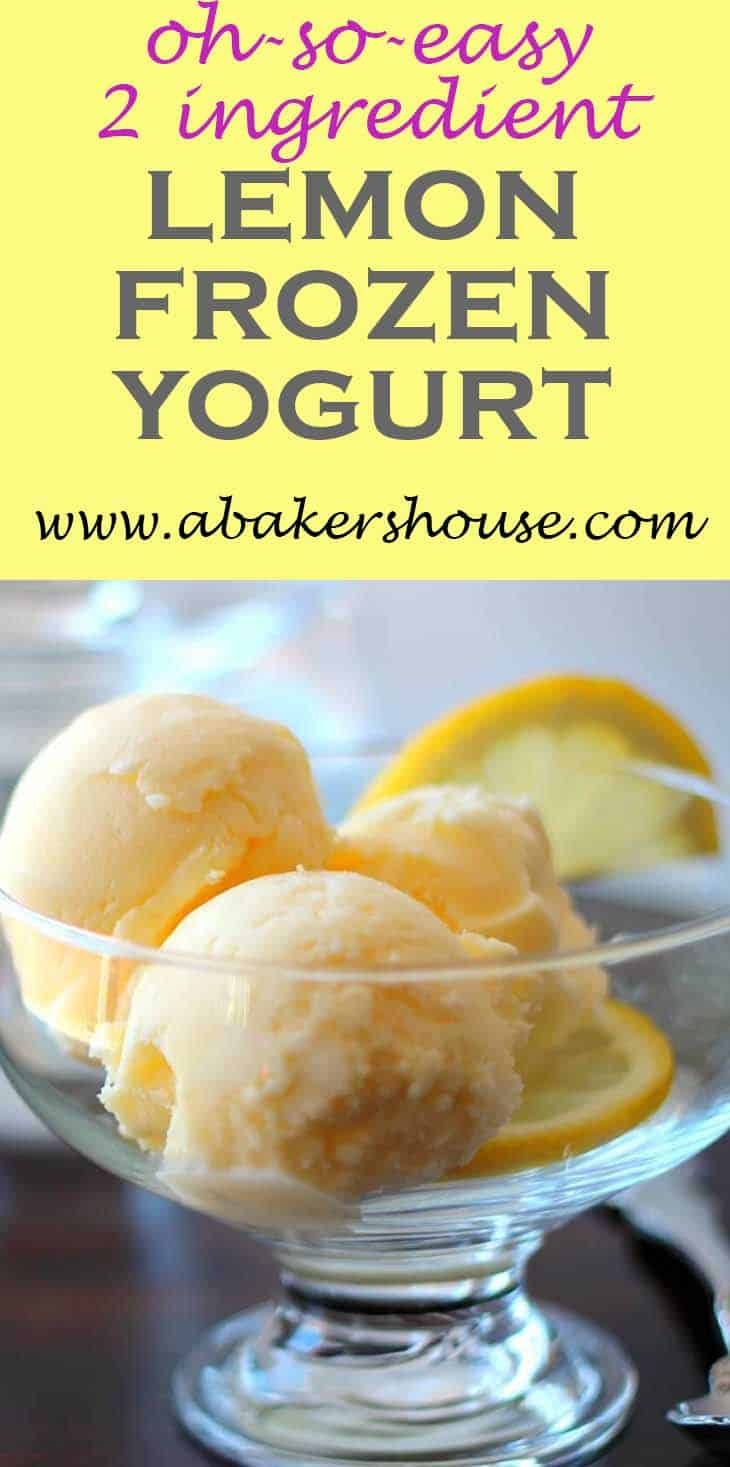 Making ice cream or frozen yogurt simply can't get any easier than this TWO INGREDIENT combination for Lemon Frozen Yogurt. Plan ahead as this lemon frozen yogurt will need to chill overnight before it is churned in your ice cream maker. #abakershouse #frozenyogurt #greekyogurt #lemons #lemonrecipe #lemoncurd