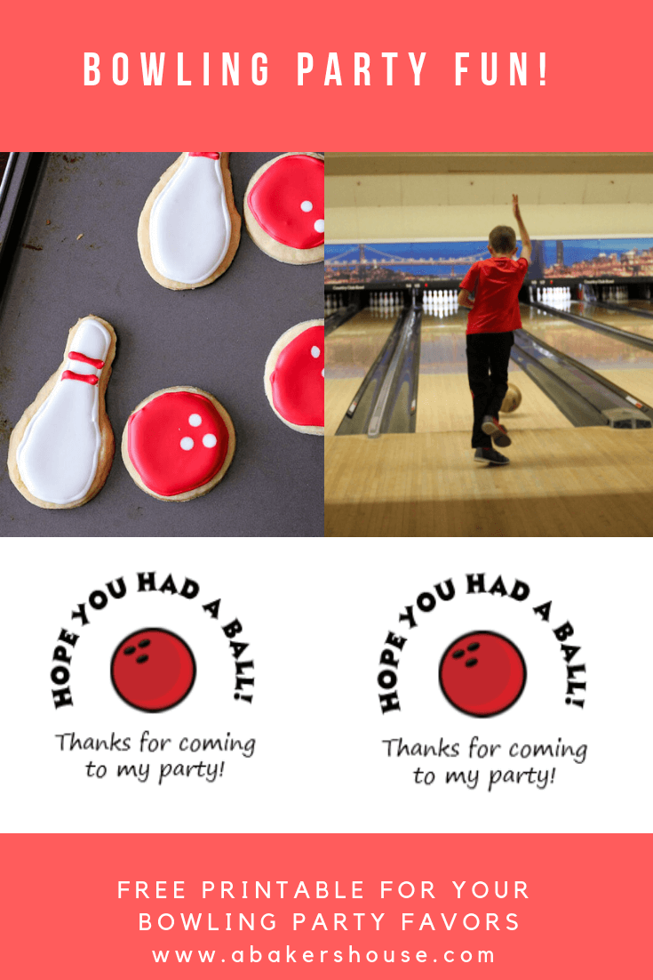 Bowling Pin and Bowling Ball Cookies are a must-have for any bowling themed party. Make these cut out sugar cookies and decorate with royal icing. Free printable included for bowling party favor stickers! #bowling #bowlingparty #bowlingbirthdayparty #abakershouse #sugarcookies #royalicing #free #printable #partyfavors