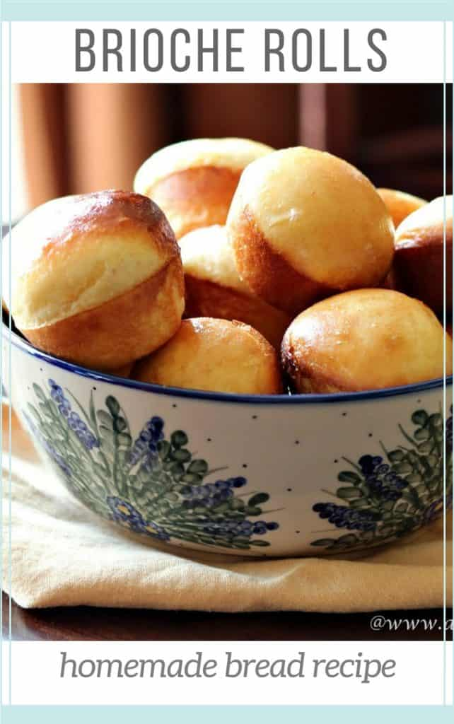 Pinterest image for brioche rolls recipe with rolls in pottery dish by window