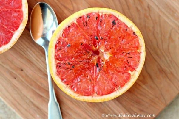 Overhead photo of grapefruit brulee