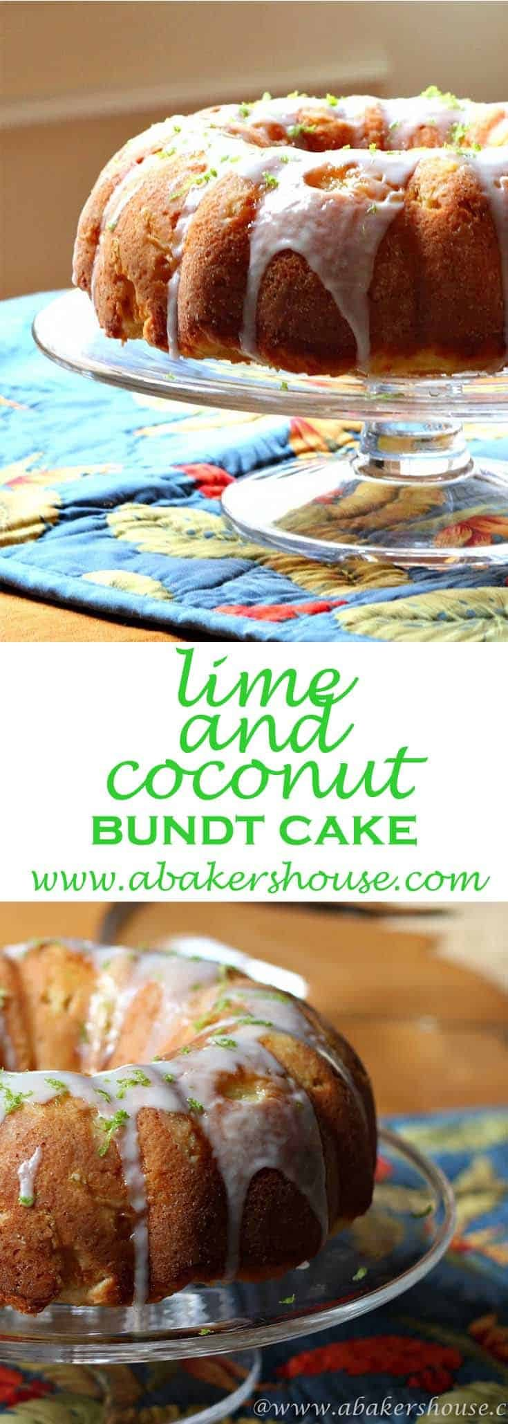 """Lime and coconut along with pineapple make this a special tropical flavored cake. I found the original recipe for Pineapple and Toasted Coconut Cake in Lauren Chattman's book, Cake Keeper Cakes, and I adapted it slightly to include lime. I couldn't get that """"Coconut"""" song out of my head—Put the Lime in the Coconut and mix it all together. #abakershouse #bundt #cake #lime #coconut #islandflavors"""